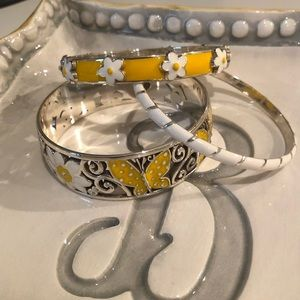 Stack of Yellow and White Brighton Bracelets